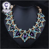 Luxury Fashion Weaving Bead Resin Crystal Gold Maxi Collar Necklace