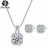 Luxury Silver Square Cubic Zirconia Jewelry Set