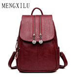 MENGXILU 2018 Maroon PU Leather Backpack
