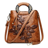 MENGXILU Floral Shield Leather Embossing Women Bags