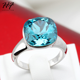 Magic Blue Color Silver Crystal with Genuine Austrian Crystal Ring