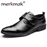 Merkmak Fashion PU Leather Black Mens Dress Shoes