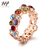 Multicolor Top Color Rose Gold Cubic Zirconia Cocktail Party Ring
