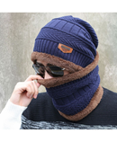 Navy Blue Beanies Knit Winter Caps with Collar