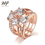New Luxury Rose Gold Color 3 Pieces Love Heart CZ Crystal Ring Sets