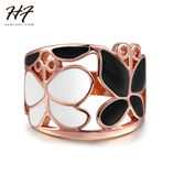 New Rose Gold Color Elegant Tow Butterflies Ring