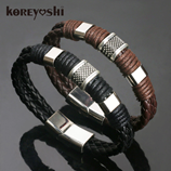 New Weave Genuine Leather Braided Mens Bracelet