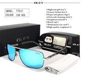 OLEY Brand Polarized Blue Sunglasses With Accessories