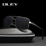 OLEY Mens Square Stainless steel frame Polarized HD Sunglasses