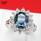 Ocean Blue Color Silver Adjustable Genuine Austrian Crystal Ring
