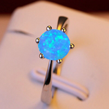 Opal Filled Six Claw Engagement Ring