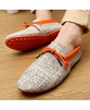 Orange Breathable Weaving Lace-up Comfort Loafers AT-4821