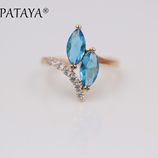 PATAYA New Arrivals Blue Double Horse Natural Eye Zirconia Ring