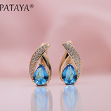 PATAYA Rose Gold Micro wax Inlay Water Drop Blue Natural Zircon Earrings