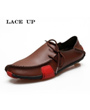 PINSV Brown Leather Stylish Lace Up Loafers