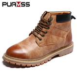 PUAMSS British Genuine Leather Ankle Boots