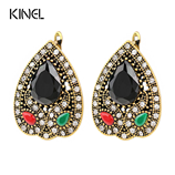 Peru Tibet Gold Color Alloy Vintage Crystal Earrings
