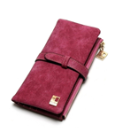 Pink Drawstring Leather Zipper Wallet