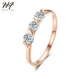 Pink Gold Color 3 Pieces AAA Cubic Zirconia Wedding Forever Ring