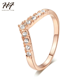 Pink Gold V Shape Lover Cubic Zirconia Silver Ring