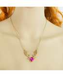 Pink Long Chain Crystal Deer Head Pendant Necklace