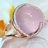 Pink Moonstone Gold Inlaid Zircon Ring