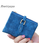 Prettyzys Blue Lady Snap Fastener Short Clutch Wallet