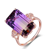 Purple Yellow Gradient Rectangle Shape CZ Cubic Zircon Ring