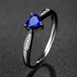 ROMAD  Heart AAA Zircon Blue Crystal Ring