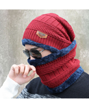 Red Beanies Knit Winter Caps with Collar