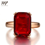 Red Big Square Crystal Rose Gold Ring
