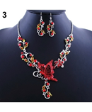 Red Bride Butterfly Flower Rhinestone Pendant Bib Jewelry set