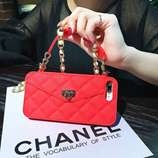 Red Luxury iPhone Wallet Bag With Pearl Chain