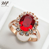 Red Stone Bague Gold Rose Crystal Fashion Ring