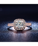 Rose Gold Square CZ Crystal Wedding