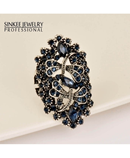 SINLEERY Blue Big Hollow Blue Rhinestone Dragonfly Ring