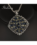 SINLEERYNavy Rhinestone Big Pendant Long Necklace