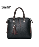 SINTIR Black Tassel Leather Rivet Zipper Handbag