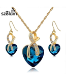 SZELAM Crystal Heart Necklace Earrings Jewellery Set