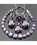 Silver 925 Jewelry Purple Zirconia Jewelry Set