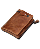 Slymaoyi Brown Leather Wallet With Coin Bag Brown