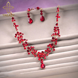 TREAZY Floral Red Crystals Jewelry Set