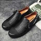 Times New Roman Black Leather Shoes