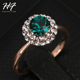 Top Quality Crystal Green Rose Gold Austrian Crystal Ring
