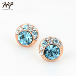 Top Quality Golden Rose Gold Stud Crystal Earings