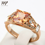 Top Quality Square Golden Rose Color Austrian Fashion Ring