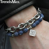 Trendsmax Blue Natural Stone Beads Charm Bracelet
