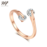 Twin Zircon CZ Crystal Pink Gold Design Fashion Ring