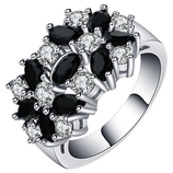 UFOORO Classic Silver Flower Filled Black Birthstone Rings