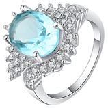UFOORO Elegant sky blue oval crystal with zircon Ring